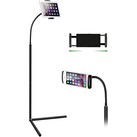 Ipad Stand Floor,Mindsky Tablet Floor Stand Gooseneck Long Arm Cell Phone Holder Mount for 7-13inch Tablet iPad, Including ipad Pro/Mini/Air, Samsung Galaxy Tab,Kindle e-Book Reader Black
