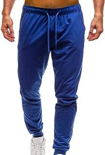 WUAI Deals,Mens Casual Pants Regular Fit Sports Running Pocket Drawstring Elastic Waist Trousers