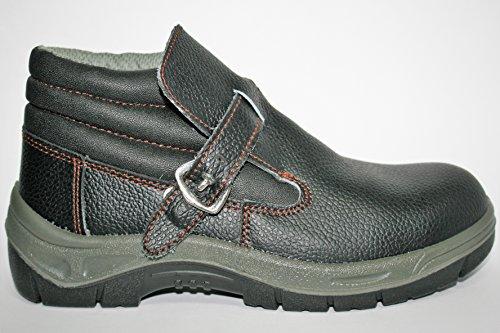 Neosafety A5028 pointe en acier, cuir, talon haut hydrofuge avec ressort, anti-statique – , Sola anti-perforante, noir/gris