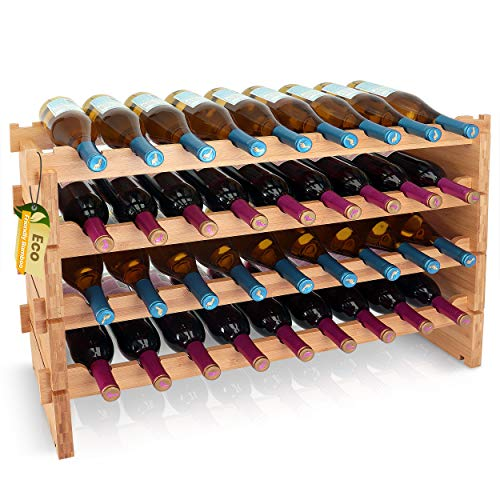 "32 Bottle Stackable Modular Wine Rack - 54"" x 34"" 4-Tier Natural Bamboo Wooden Wine Bottle Storage Display Shelves, Wobble Free for Bar, Wine Cellar, Basement, Cabinet, Pantry - SereneLife SLWMDSF200"