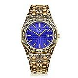 LALB Relojes Impermeables para Hombres, Banda De Acero Relojes Clásicos, Trend, Personalidad De Moda, Relojes De Negocios,Gold Blue