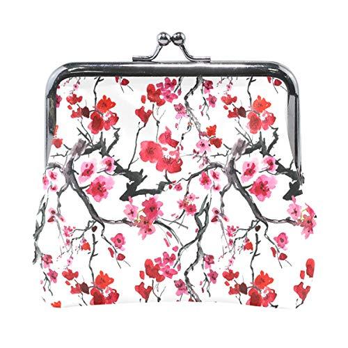 Fashion Damen-Geldbörse, japanischer Stil, Kirschblüte, Vintage-Tasche, Kiss-Lock, Mini-Geldbörse