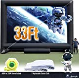 Sewinfla 33Ft Giant Inflatable Movie Screen Outdoor - Portable Blow Up Projector Screen for Grand Parties, Easy to Set Up