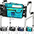 Walker Bag - Water Resistant Tote Folding Walker Basket Caddy Pouch with Large Compartment and 9 Pockets Universal fit Walker, rollator (Plaid-Blue)