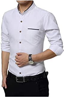 IndoPrimo Men's Cotton Chinese Collar Full Sleeves Casual Shirt