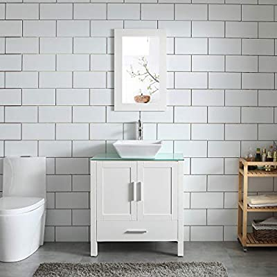"""30"""" White Bathroom Vanity and Sink Combo MDF Wood Glass Top Heighten Cabinet w/Mirror Faucet&Drain"""