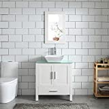 White 30' Bathroom Vanity and Sink Combo MDF Wood Glass Top Heighten Cabinet w/Mirror Faucet and Drain