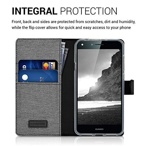 kwmobile Huawei Y6 II Compact (2016) Hülle - Kunstleder Wallet Case für Huawei Y6 II Compact (2016) mit Kartenfächern und Stand - Grau Schwarz - 4