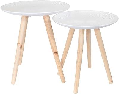 THE HOME DECO FACTORY Tables Gigognes Plateau Rond Motif Feuille - 2 pcs, Bois + MDF, 44,5 x 44,5 x 49,5 cm