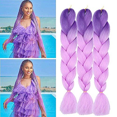 Extension con capelli intrecciati, capelli sintetici colorati, resistenti al calore, per il fai da te, in trecce, colore viola, 100 g pz. 60 cm
