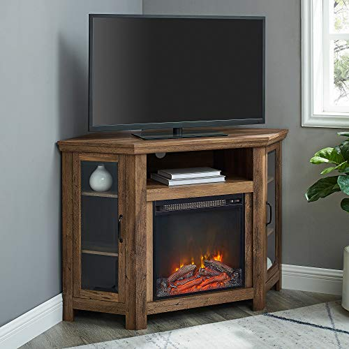 Walker Edison Alcott Classic Glass Door Fireplace Corner TV Stand for TVs up to 55 Inches, 48 Inch, Rustic Oak