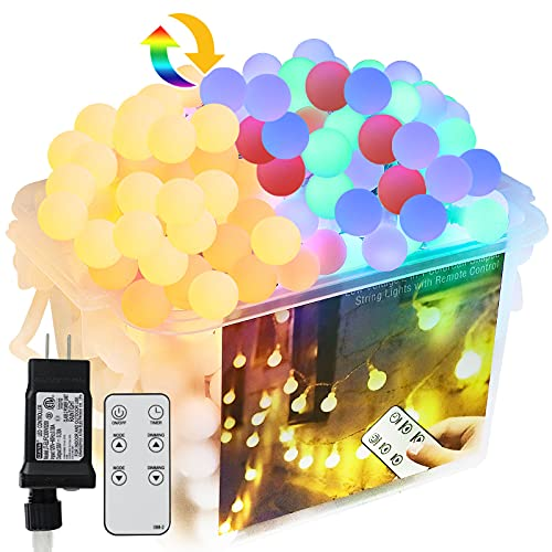 Camping String Lights Waterproof, 65.67ft 150 Led with Rf Remote Plug in Outdoor String Lights , 3 Color Changing in 1 Patio Colorful Lights, Globe String Lights for Decor Holiday Party Yard Garden