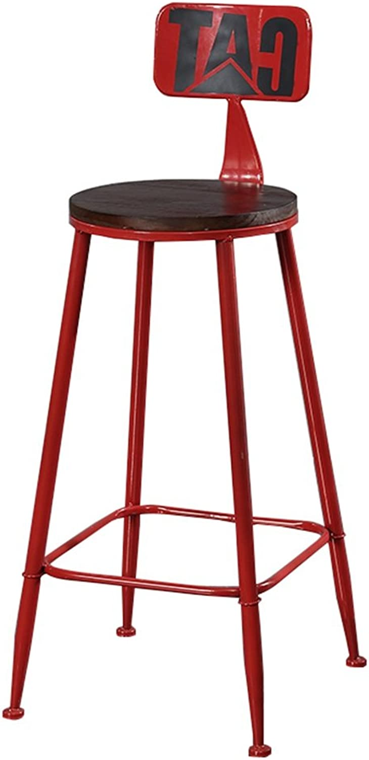 High Stool Bar Kitchens Dining Chair Breakfast Stool   Tall Chairs Bar Stool Counter Chair Leisure Seat Vintage Retro Barstool Design (color   RED, Size   65CM)