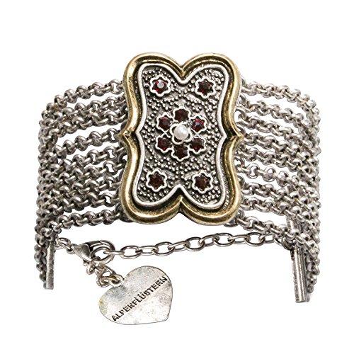 Alpenflüstern Trachten-Armkette Margot - Elegantes Trachten-Armband Damen-Trachtenschmuck mehrreihig mit Mittelteil antik-Gold-Farben DAB048