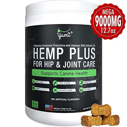Calming Hemp Chews For Dogs W/ Glucosamine & Chondroitin | Natural Multivitamin Dog Treat | Made In USA | Probiotics Supplement For Anxiety Relief, Hip, Joints, Digestion | 90 Soft Treats, Large Dogs
