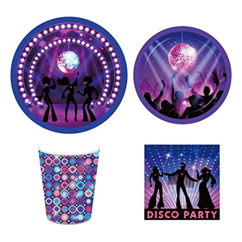 Disco Party Supplies,50'S,60'S,70'S,80'S Birthday,Retro Party,Rock and Roll Set Includes Disposable Dinner Plates,Dessert Plates,Cups,Napkins,Straw,Serves 16 Guests,113PCS