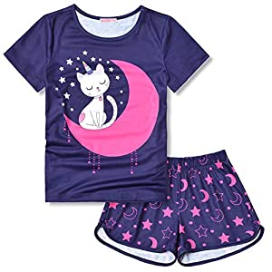 CHILDRENSTAR Pajama Sets for Girls Kids Pjs Summer Cotton Short Sleeve Sleepwear