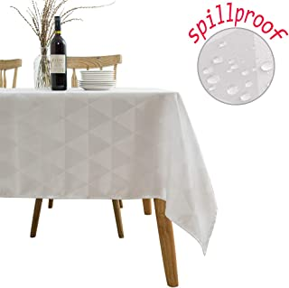SUNLOVO Spillproof White Table Cloth Rectangle 70x52 Inches,Geometric Jacquard Fabric,Washable Tablecloth for Kitchen Dinner,Parties.Picnic 4-6 Seats
