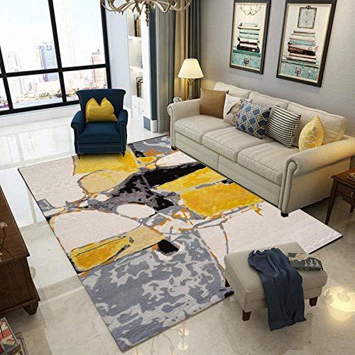 FLOORMATJING Moderne Tapis 7MM Cristal Velours Carpet Tapis Design Shaggy  Tapis Abstraite Gris Jaune de Tapis de Coureur de Peinture à l\'huile pour  ...
