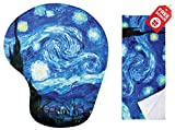 Van Gogh Starry Night Ergonomic Design Mouse Pad with Wrist Support. Gel Hand Rest. Matching Microfiber Cleaning Cloth for Glasses, Cars & Electronics. Mouse Pad for Laptop, PC Computer and Mac.