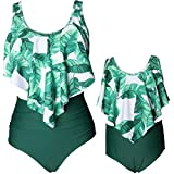 BBYES Mother Daughter Matching Swimsuits Bathing Suits Family Mommy Mom Girls Matching Floral Ruffle Swimwear (02-Green, Medium)