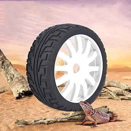 Dilwe RC Auto Reifen, Nabe Gummi Reifen Upgrade Teil für 1/8 Onroad Racing RC Auto Zubehör(Weiß)