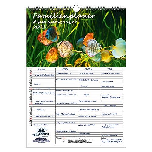 Familienplaner - Aquariumszauber DIN A3 Kalender für 2021 Tiere im Aquarium und Unterwasser - Seelenzauber
