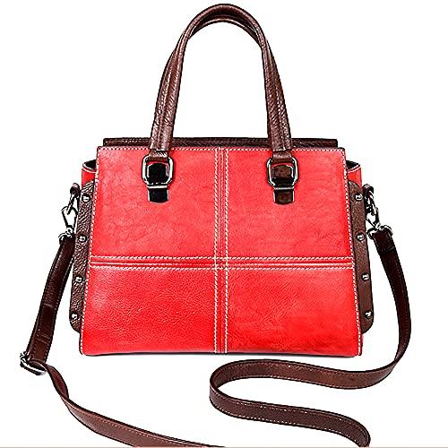 Bolsos de cuero genuino para las mujeres vintage Hobo bolso de hombro Satchel hecho a mano Crossbody Bolsas, Red (Rojo) - B040510
