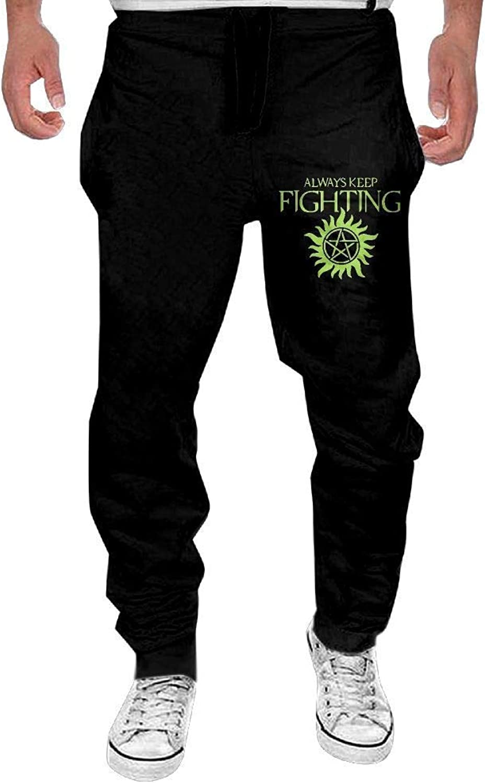 Lalaeltd Men's Cool Sweatpants Print Always Keep Fighting Supernatural