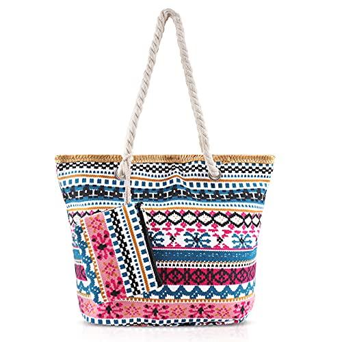 Comius Sharp Bolsa de Playa para Mujer, Grande Bolso de Mano Compras Bolsa con Cremallera, Totalizador de Lona de Verano, Bolsas de Hombro para Playa/Viajes/Uso Diario (09) ⭐