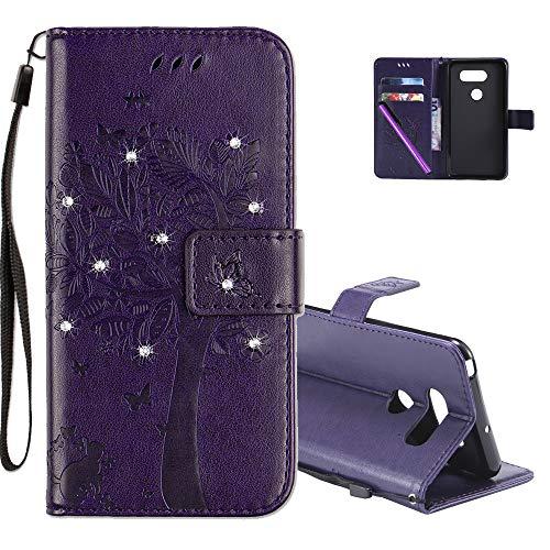 COTDINFOR LG V30 Hülle für Mädchen Elegant Retro Premium PU Lederhülle Handy Tasche mit Magnet Standfunktion Schutz Etui für LG V30 Purple Wishing Tree with Diamond KT.
