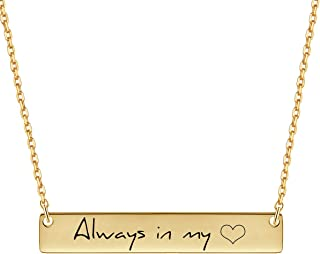 Personalized Bar Necklace, 18K Gold Plated Custom Name Engravable Necklace with Adjustable Chain Charm Gift for Bridesmaid