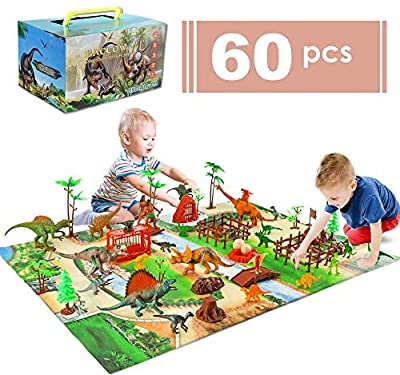 Baccow 60pcs Kids Dinosaur Toys for Age 3 4 5 6 7 8 9yr Year Old Boys Girls, Educational Big Toy Dinosaurs Playsets/Figures on Activity Dinosur Play Mat, Tech Learning T Rex Dinosaur Toddler Gifts by Baccow
