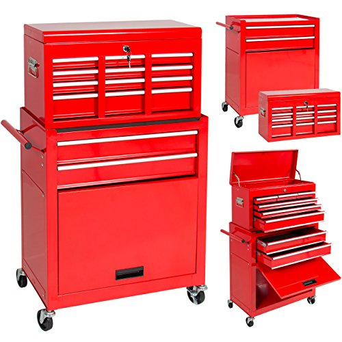 Rolling Tool Storage Box with Cabinet, Sliding Drawers and a Portable Top Chest