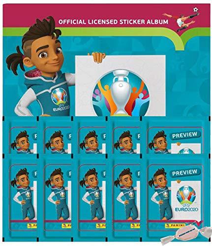 Panini - EURO 2020 Sticker Preview - Sammelsticker - Leeralbum + 10 Tüten zusätzlich 1 x Sticker-und-co-de Bonbon