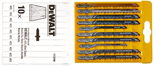 DEWALT DT2290-QZ - Juego de 10 hojas de sierra calar para madera DT2165 x 2, DT2050 x 1, DT2168 x 1, DT2177 x 2, DT2166 x 2, DT2075 x 2 (Equivalentes Bosch T101B, T119BO, T101AO, T111C, T144D, T144DP)