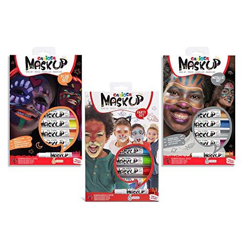Carioca Set Mask Up Premium   Truccabimbi Kit per Bambine e Bambini, Trucchi per la Pelle in Stick Ideali per Natale, Halloween, Carnevale e Feste - Colori Brillanti, Metallici e Neon, 18 Pezzi
