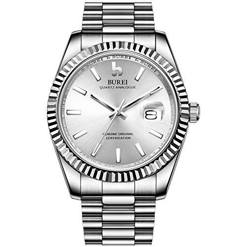 BUREI Herren Uhren Analoge Quarzuhr Silber Dial mit Datum Silber EdelstahlBand Watch for Men