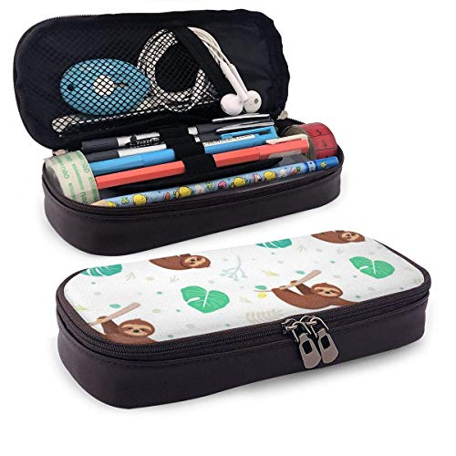 Lawenp Tropical Leaves and Sloths Leather 3D Nano Printed Pencil Case Pouch Zippered Cute Pen Pencil Case Box School Supply for Students,Big Capacity Stationery Box for Girls Boys and Adults