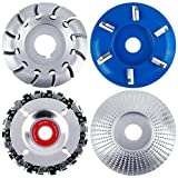 Aodaer 4 Pieces Angle Grinding Wheel 6 Teeth Wood Turbo Carving Disc Grinder Chain Disc in 22 Teeth Wood Polishing Shaping Disc for Wood Cutting and Polishing Sanding Carving Grinding Wheel Plate