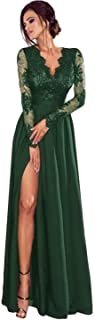 Women Long Sleeve Lace V-Neck Formal Evening Dresses with Slit Prom Party Gown