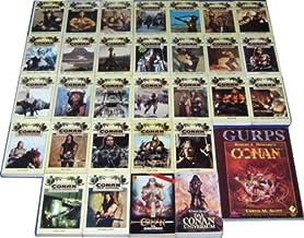 Der gelbe Conan Zyklus mit dem Conan Universum sowie einer Weltkarte (Conans Welt) (Conan - von Cimmerien - Pirat - Wanderer - Abenteurer - Krieger - Thronräuber - Eroberer - Rächer - von den Inseln - Barbar - Schwertkämpfer - Schwert von Skelos - Befreier - Strasse der Könige - Freibeuter - und der Zauberer - Söldner - und der Spinnengott - von Aquilonien - Verteidiger - Unbesiegbare - Unüb