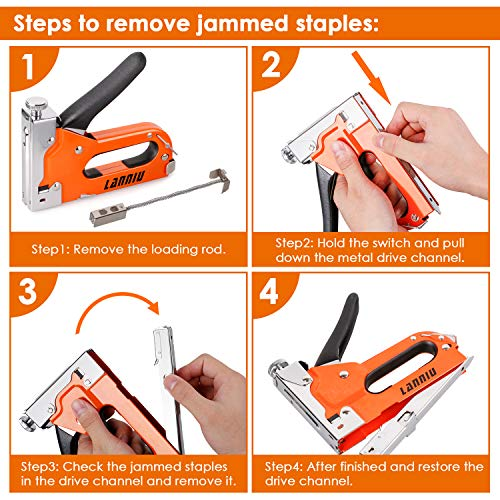LANNIU Staple Gun, Heavy Duty Staple Gun with Remover, 4 in 1 Staple Gun with 4000 Staples for Upholstery, DIY, Fixing Material, Decoration, Carpentry, Furniture Photo #5