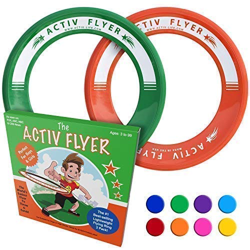 Activ Life Best Kids Ring Flyers Green/Orange Play Ultimate Toss Games with Friends and Family Outdoors  Indoor Gym Flying Disc Toys for Top Frisby Golf  Sports Juguetes para Niños Frisbie