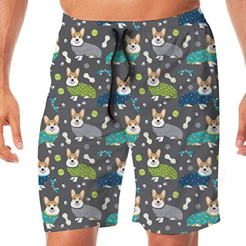 Pijamas Corgi Cute Corgis Bañador para Hombre Beach Holiday Party Secado rápido con Bolsillos Laterales,XL