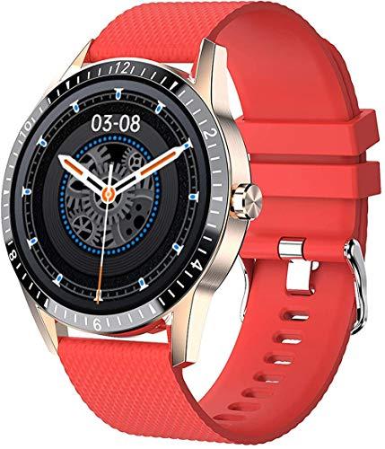 Reloj inteligente para Android iOS Fitness con frecuencia cardíaca y presión arterial Spo2, monitor de sueño, IP68, resistente al agua, color rojo