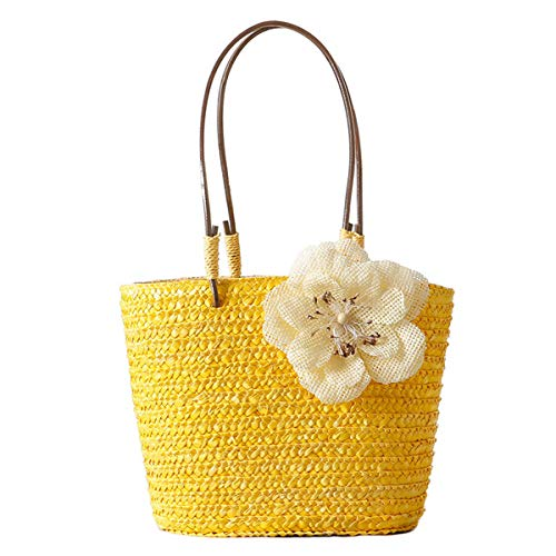 pequeño y compacto Bolso bandolera de paja hecho a mano simple y de moda para mujer