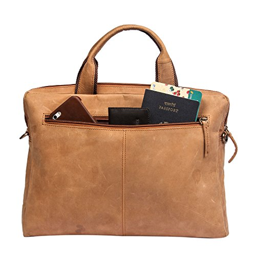 13-13.3 inch Vintage Leather Sleek Handmade Sleeve | Shoulder Bag | Messenger Bag | Office Briefcase Compatible with MacBook Ultrabook Chromebook Notebook - TAN by The Leather Warehouse