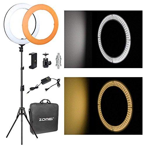 """Anillo de luz, Zomei 18 """"/ 46 cm de 58W 5500K LED Luz Anillo Regulable Kit de Iluminación con Soporte y Adaptador Telefónico, para Videos de Youtube, Sesión de Maquillaje, Retrato"""