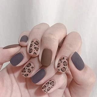 Edary Leopard Print False Nails Matte Full Cover Fake Nails Short Round Nails Art Tips Top 24pcs Nail for Women